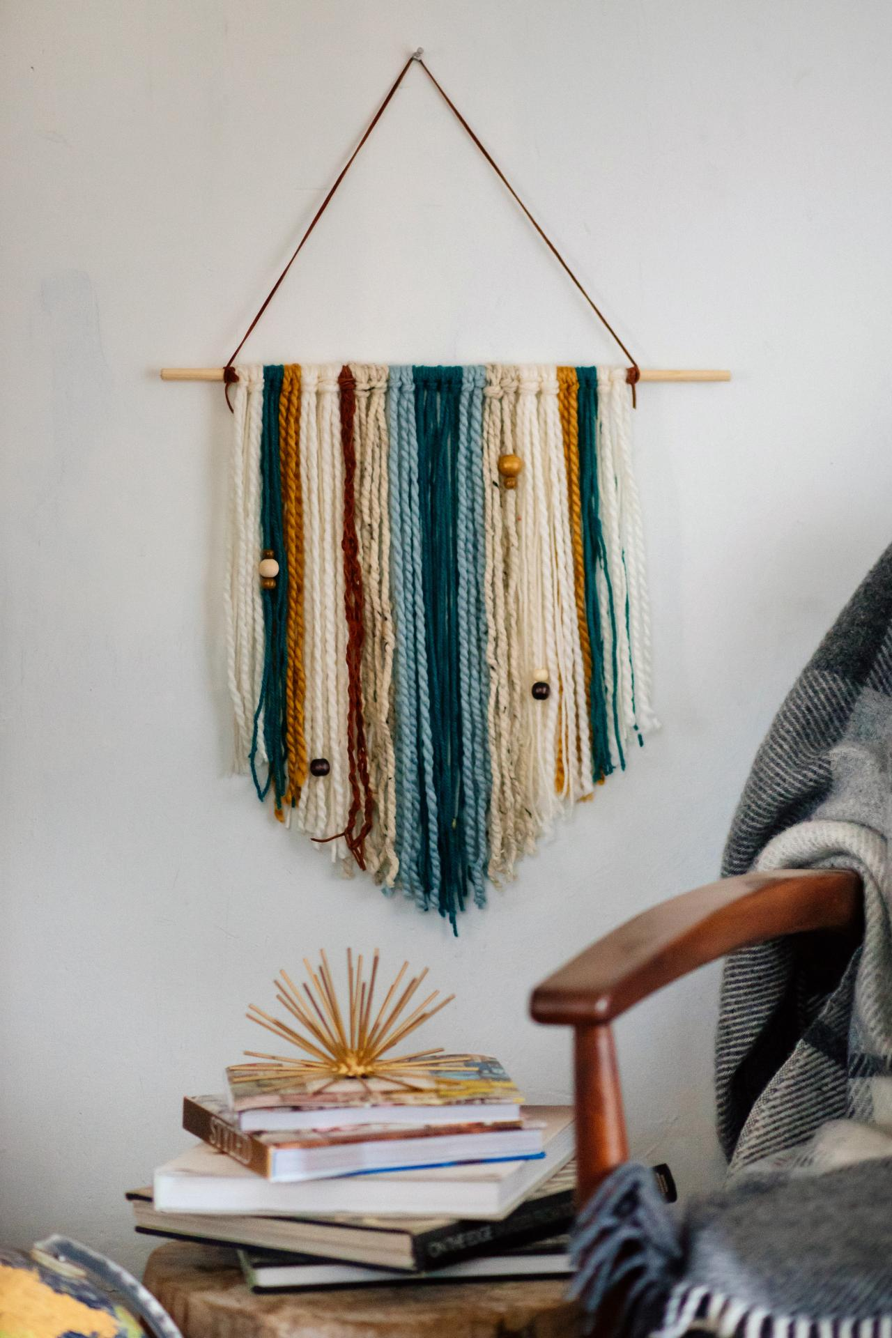 Hanging Wall Decor Ideas How To Make An Easy Diy Yarn Wall Hanging Hgtv