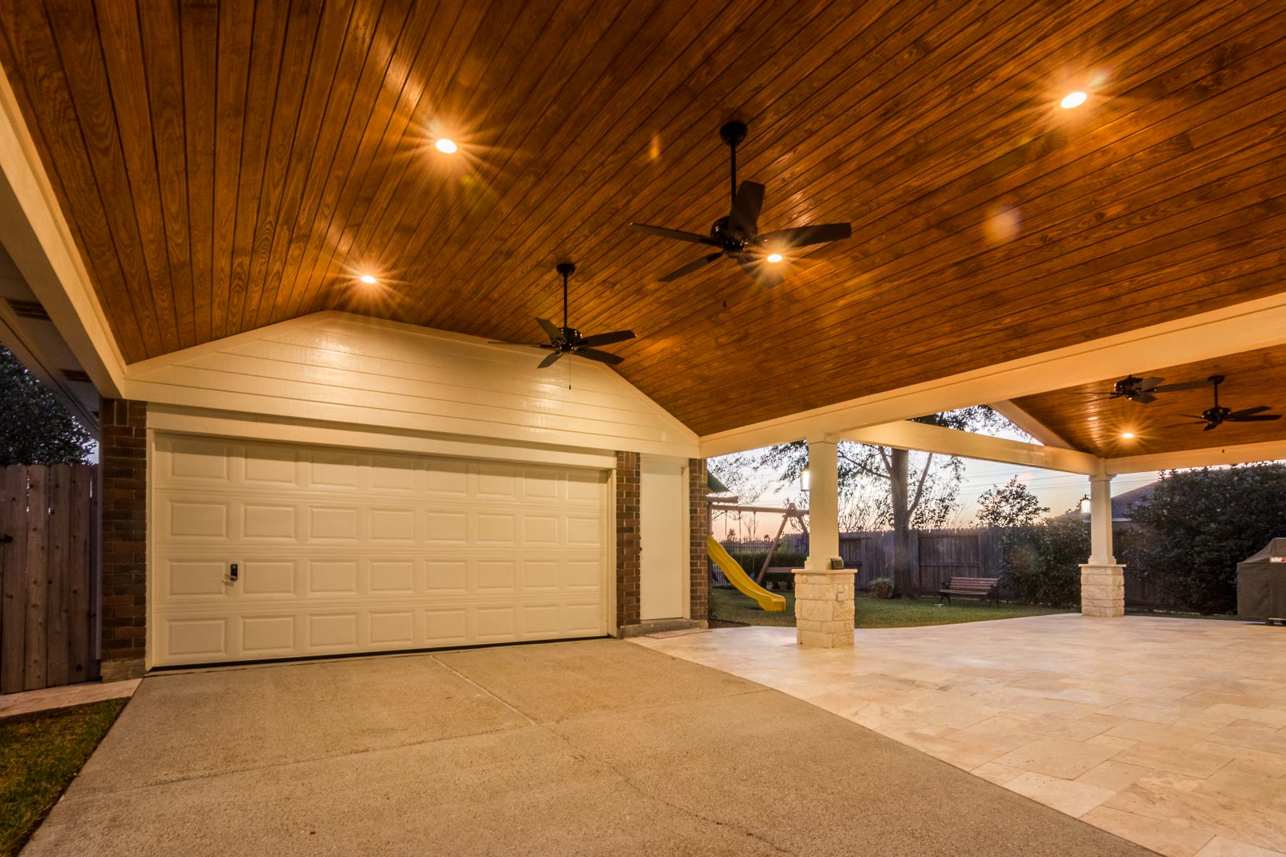 Flagstone Patio Patio Cover And Carport In Jersey Village - Hhi Patio Covers