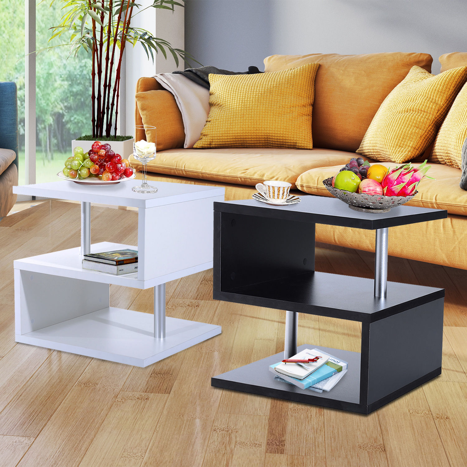 End Table For Living Room Details About Modern Coffee Table Side End Table 2 Shelf Storage Living Room Furniture