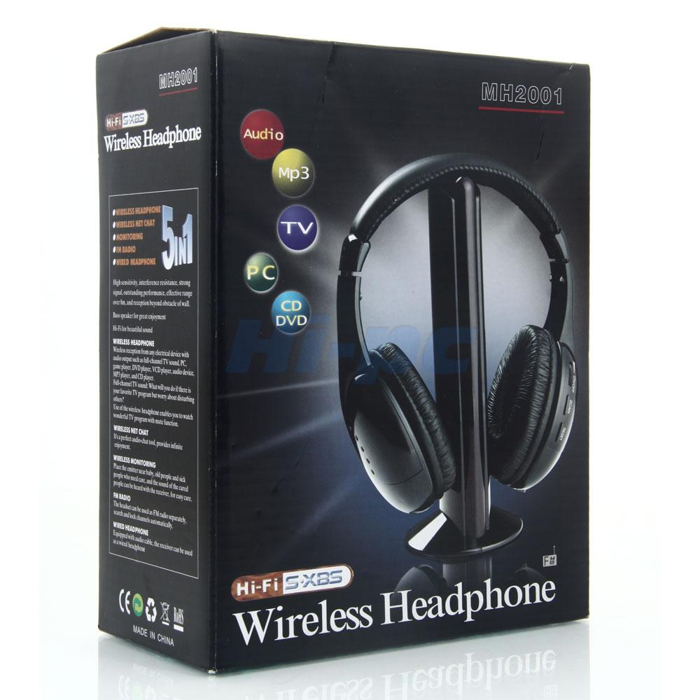 Hi Fi Tv Details About New 5 In 1 Hi Fi Wireless Headset Headphone Earphone For Tv Dvd Mp3 Pc Black