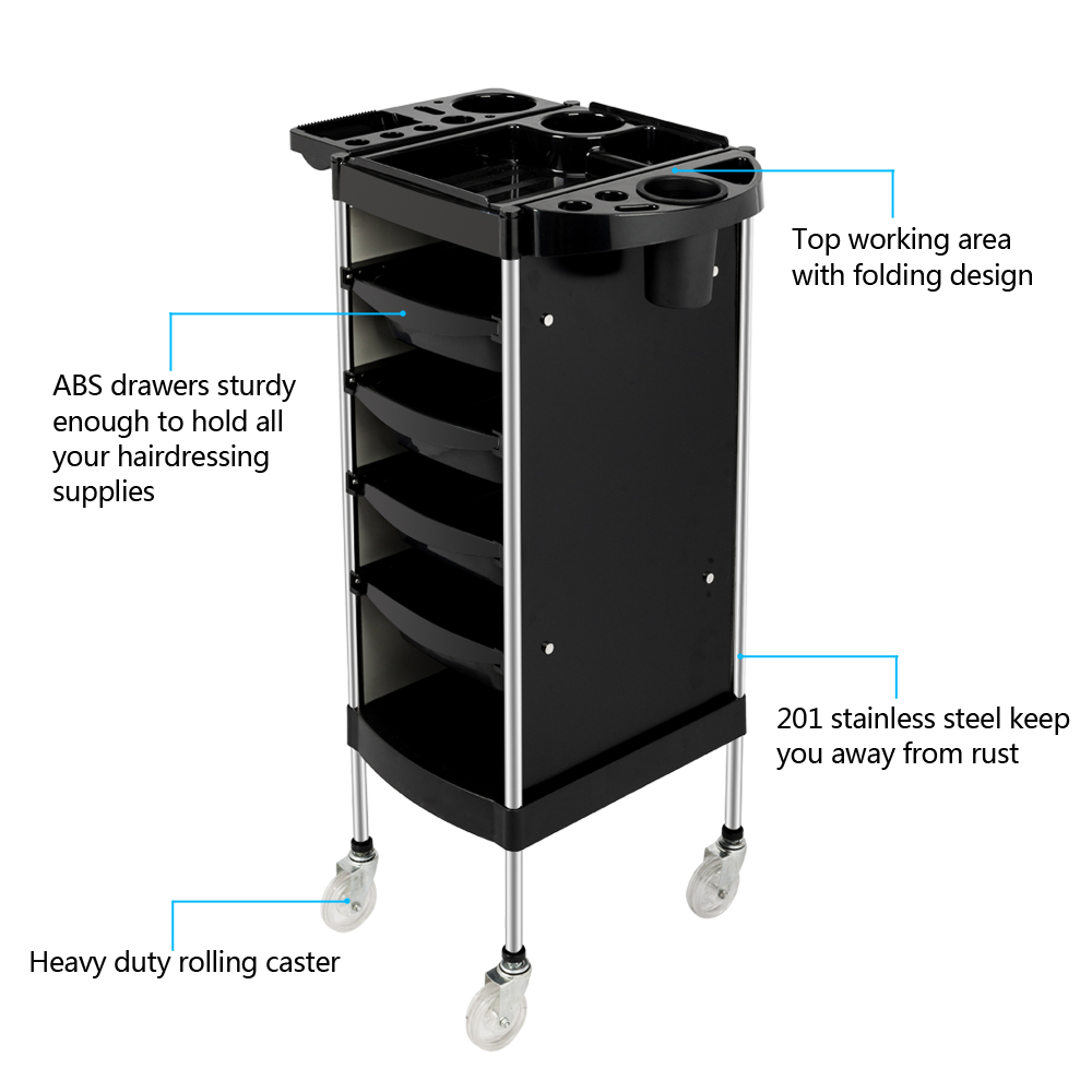 Decoration Salon Simple Details About Salon Tray Cart Trolley Hair Rolling Cart Barber Hairdressing Storage Drawers
