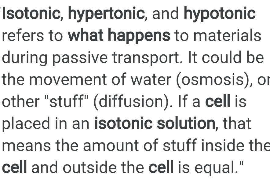 what happen when the cell kept in isotonic hypertonic hypotonic