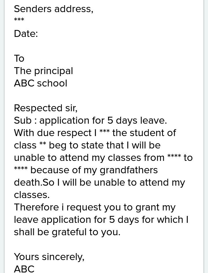School leave application for grandfather expiredsimplest formal