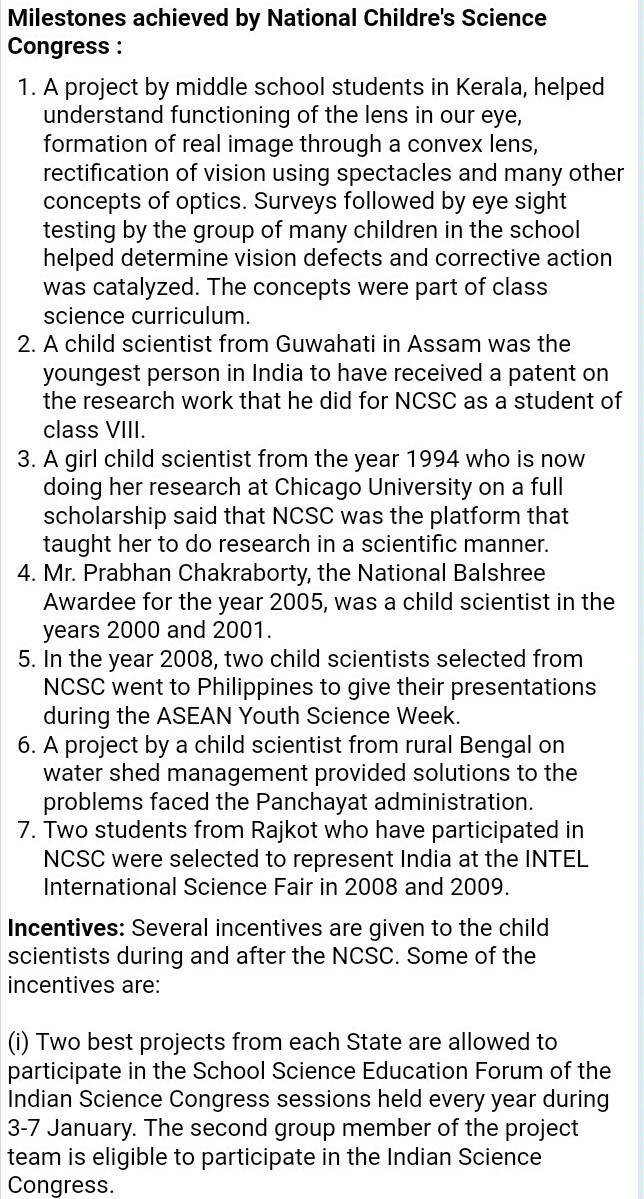 National childrn science congress essay on 2000 words Please help me