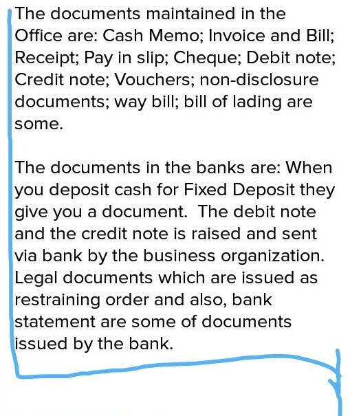 Collection of all types of document used in banks and offices about