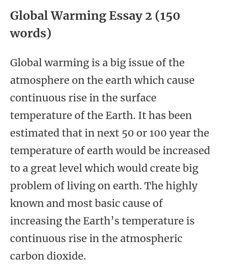 global warming essay for class 9in 150 words - Brainlyin