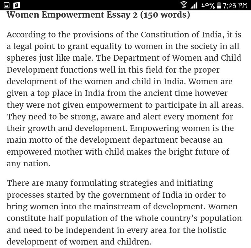 Essay on women empowerment in english on insight toppers essay