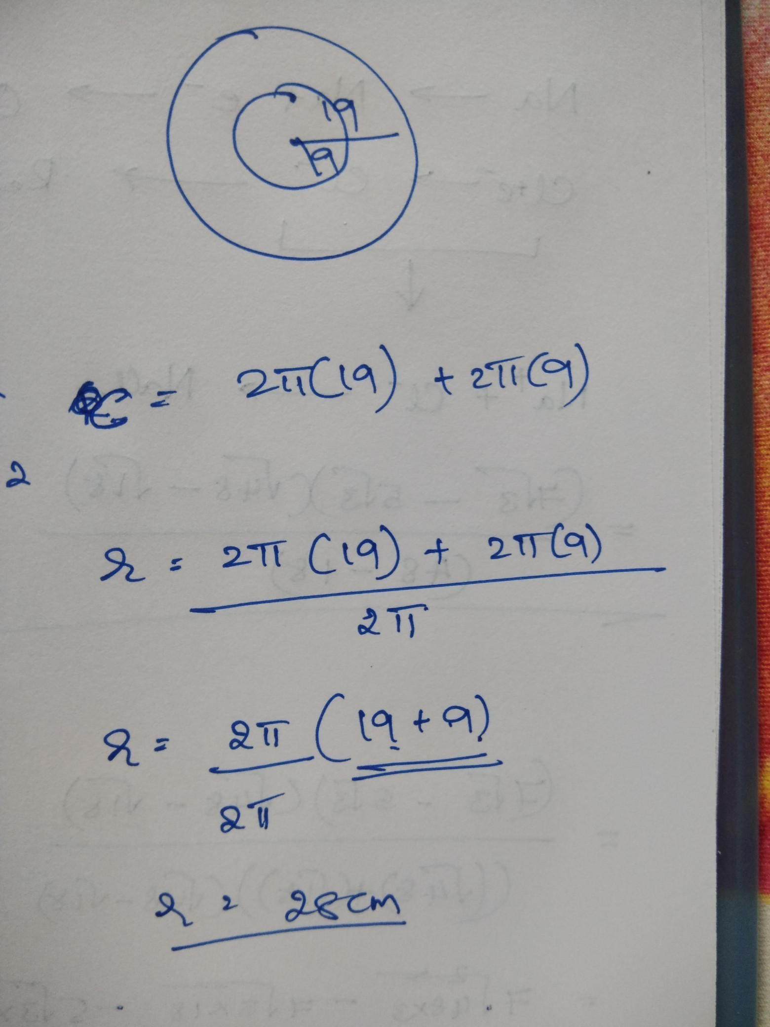 9 To Cm The Radii Of Two Circles Are 19 Cm And 9 Cm Respectively Find The