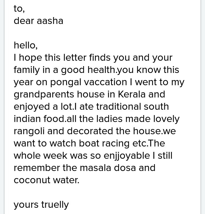 Write a letter about pongal celebration to a pen friend - Brainlyin
