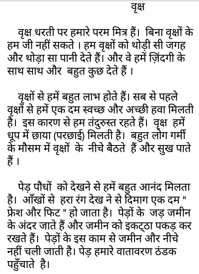 Essay on tree ka labh in Hindi - Brainlyin