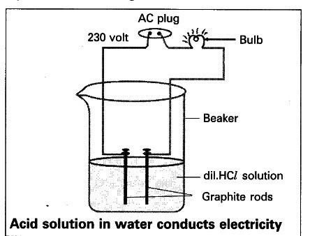 Draw a labelled diagram to show that acid solution in water conducts