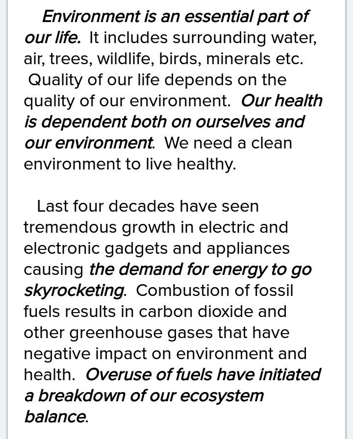 save fuel for better environment and health essay writing - Brainlyin