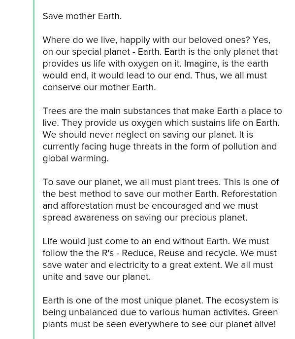 A very very short essay on save earth - Brainlyin