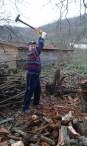Szilágyi György önkéntes készül a következő fa szétvágására a kusalyi templomkertben