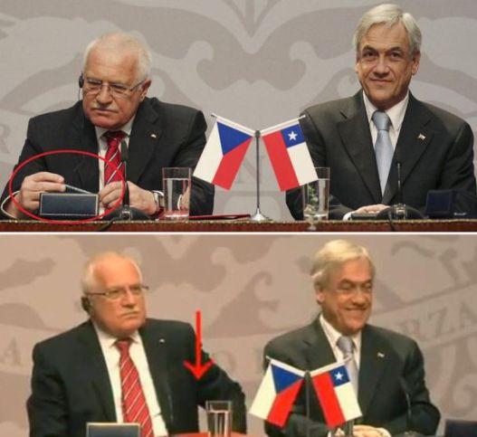 em conferencia mundial representante pega a caneta do palanque e coloca no bolso.