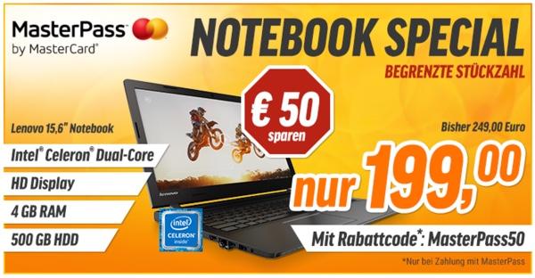 15 Zoll Notebook Lenovo 100-15IBY für unter 200 Euro