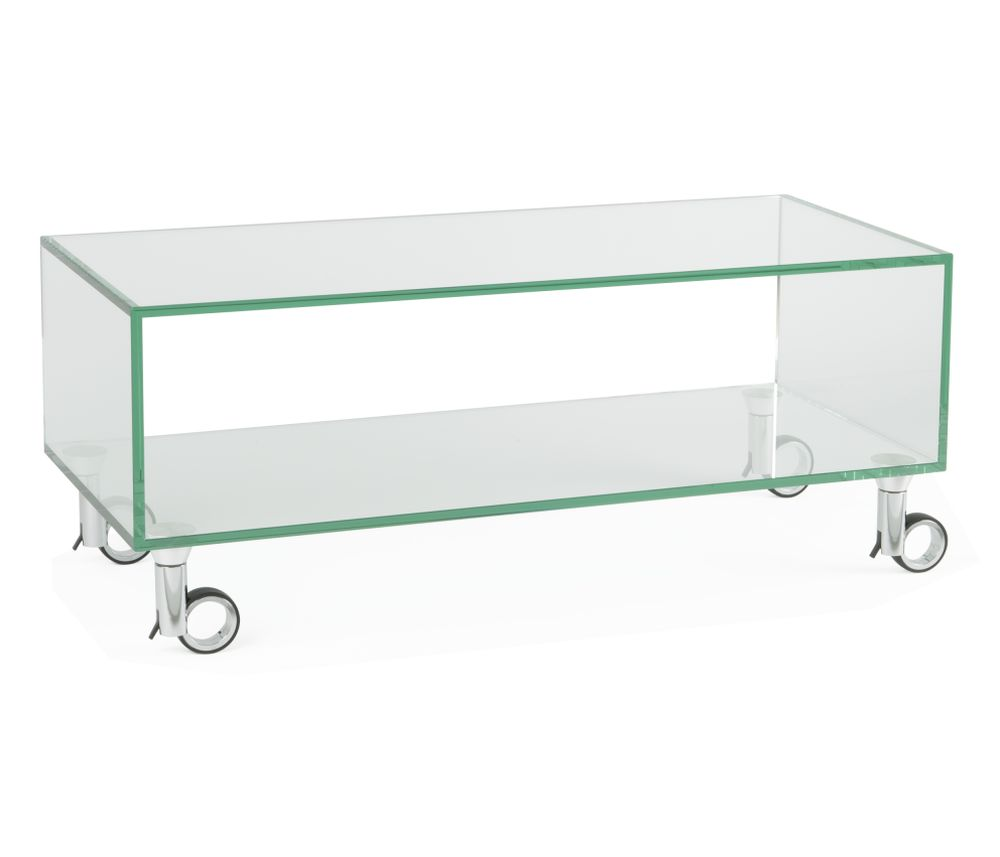 Tv Rack Glas Mit Rollen Tv Möbel Cubbolino 1120 | Audioraq | Hifi-tv-moebel.ch