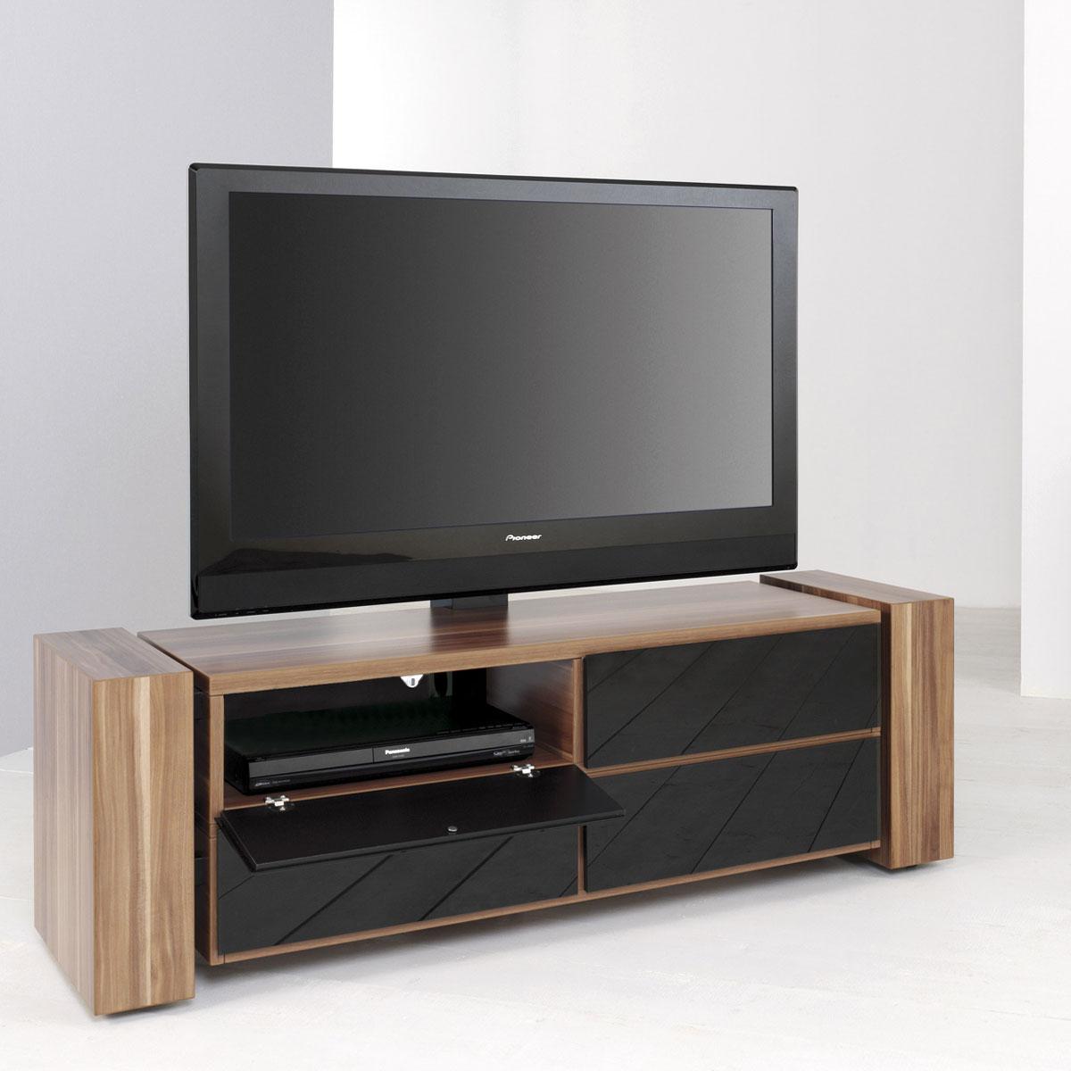 tv rack holz rollen tv mobel eiche glas hochglanz sonoma conforama