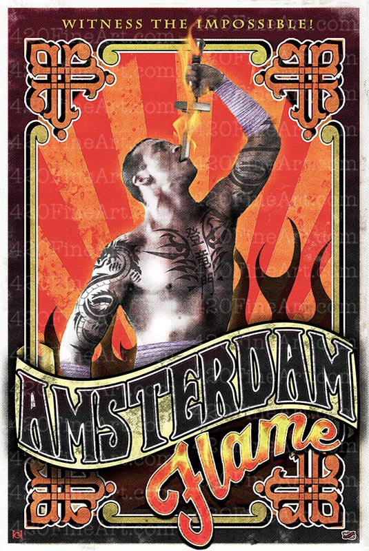 Amsterdam Flame Poster High Art Studios Cannabis-Themed Art - poster on line