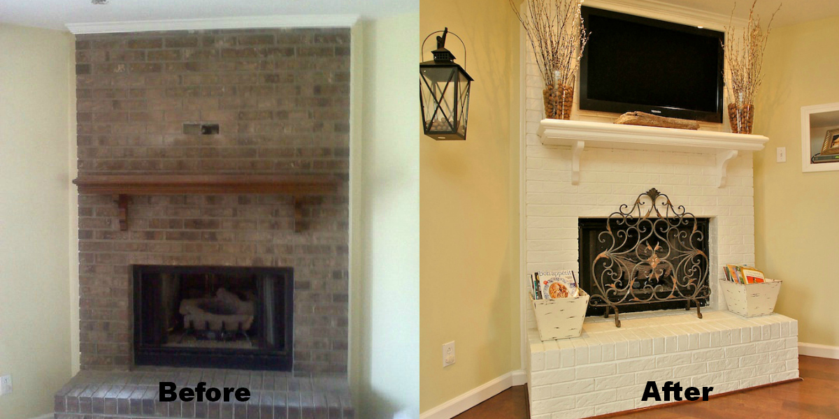 Brick Fireplace Painting And Renovation High Heels To