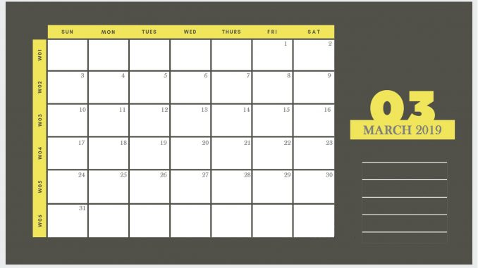 Blank March 2019 Printable Calendar Template PDF Word Excel