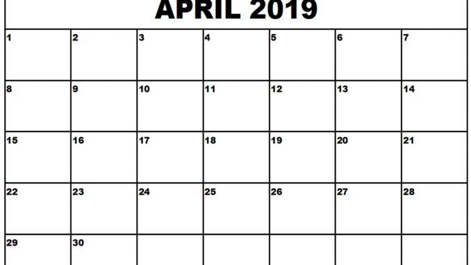 Monthly Blank Calendar April 2019 Printable Template