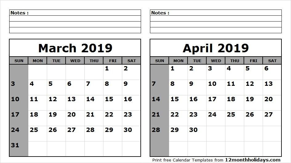 March April 2019 Calendar Printable Template With Holidays