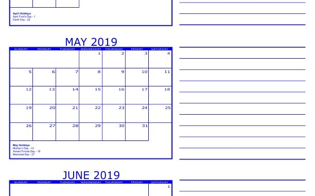 April May June 2019 Calendar Printable Template PDF, Word, Excel