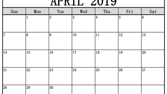 Editable April 2019 Calendar Blank Template Word