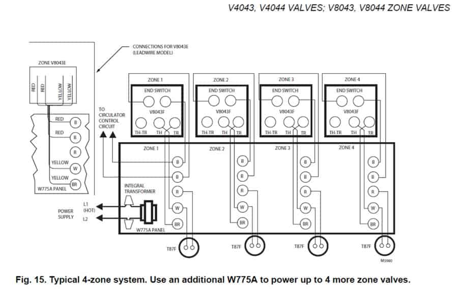 Hot Water Boiler Piping Zone Valves and Wiring Diagrams