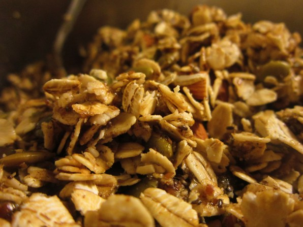 Trail treats fall flavor granola to take on a hike- with maple syrup, almonds, pumpkin seeds, cinnamon, and more