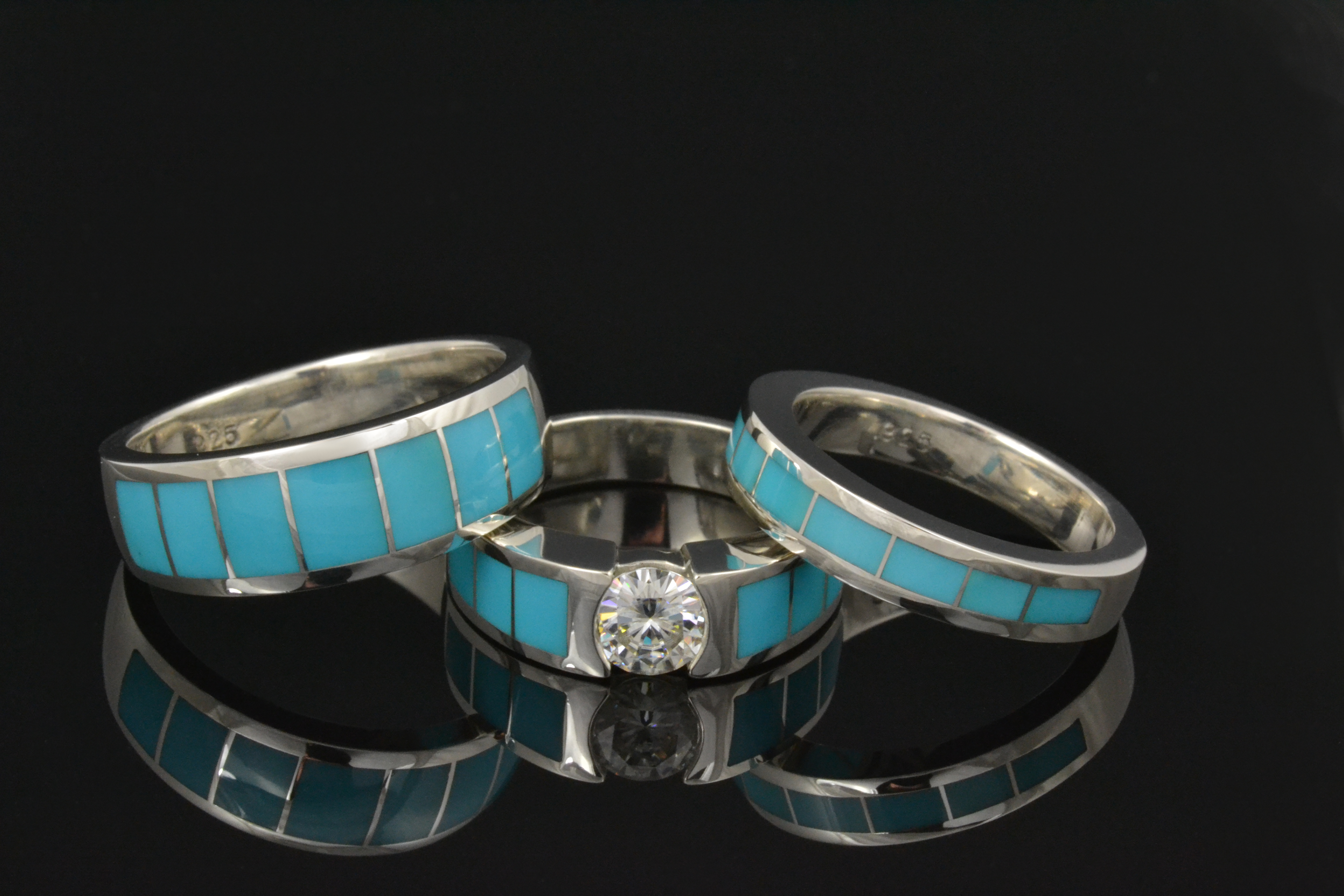 new turquoise wedding ring sets available opal wedding ring sets Turquoise and moissanite wedding and engagement ring set