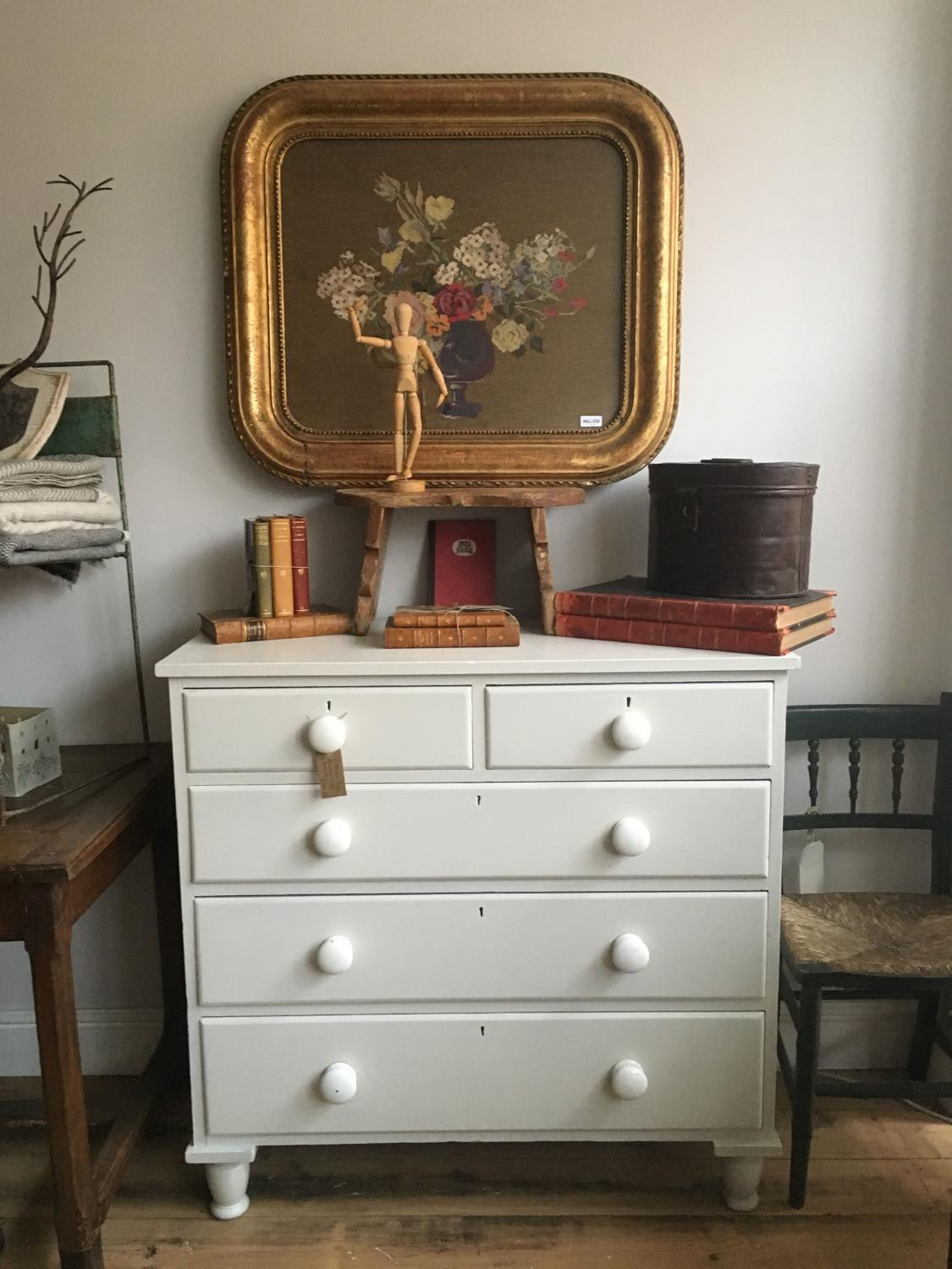 Victorian Pine Chest Of Drawers Victorian Painted Pine Chest Of Drawers With Original Porcelain
