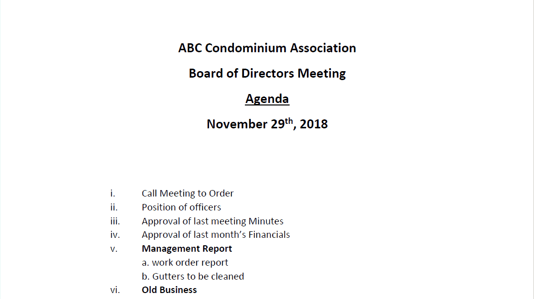 hoa meeting agenda template
