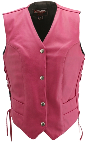 Hp Xl Women's Hot Pink Leather Vest