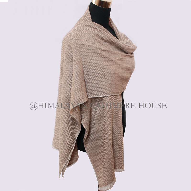 Natural Brown and White Cashmere Pashmina Shawl
