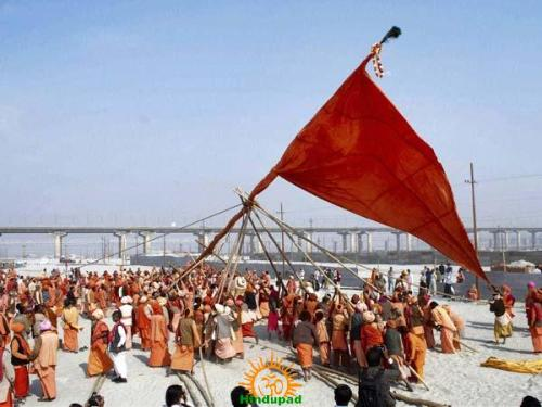 Dharm Dhwaja being installed at Kumbha Mela Place