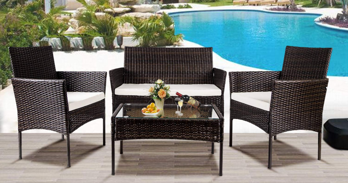 Rattan Outdoor 4-piece Rattan Outdoor Patio Furniture Set Only $170.99 ...