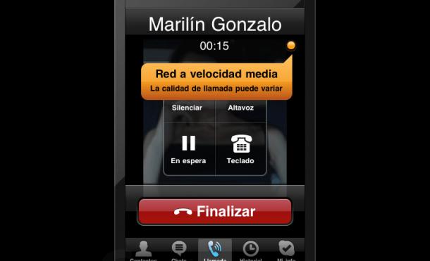 Captura de pantalla de una llamada vía 3G usando Skype para iPhone en un iPad