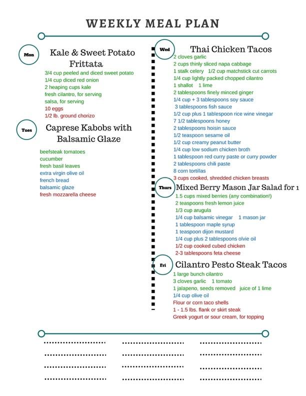 Healthy Weekly Meal Plan - healthy weekly meal plans