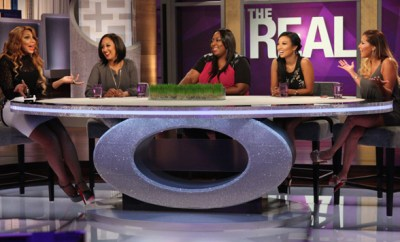 "Hosts of ""The Real"" (From Left to Right: Tamar Braxton, Tamera Mowry-Housley, Loni Love, Jeannie Mai and Adrienne Bailon). Photo Credit: Michael Rozman/Warner Bros."