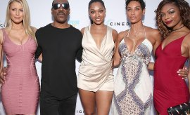 "HOLLYWOOD, CA - JULY 25:  Paige Butcher, Eddie Murphy, Bria Murphy, Nicole Mitchell Murphy and Shayne Audra Murphy attend the Premiere Of Cinedigm's ""Amateur Night"" at ArcLight Hollywood on July 25, 2016 in Hollywood, California.  (Photo by Todd Williamson/Getty Images)"