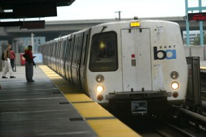Cindy Chew 6/28/05 A BART train pulls into West Oakland station on Tuesday.