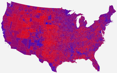 2004 Map from Princeton University shows the country is purple. The blue areas are usually much more heavily populated then read areas.