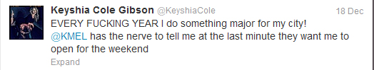 Keyshia Cole tweets one