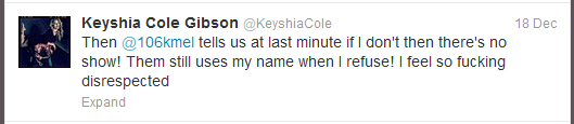 Keyshia Cole tweets two