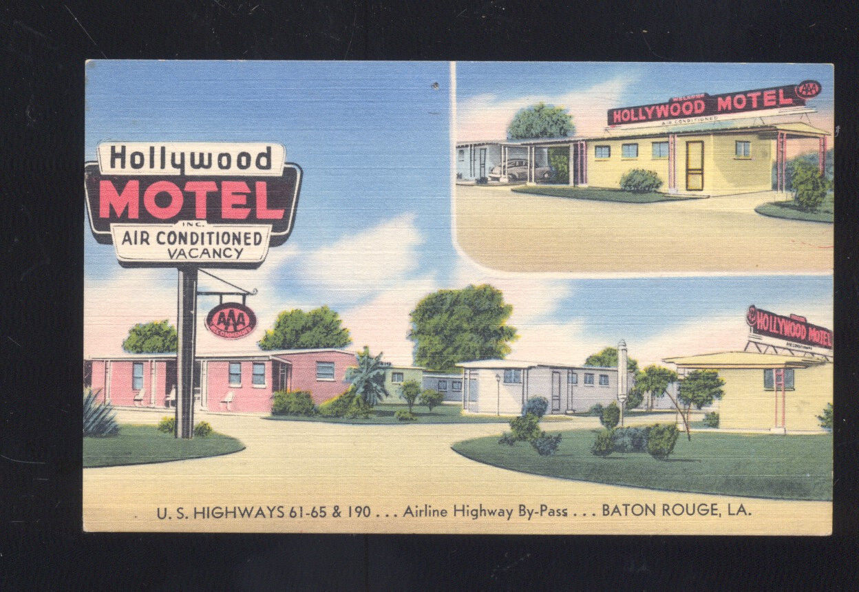 Hollywood Motel Baton Rouge Louisiana Hollywood Motel Vintage Linen Advertising