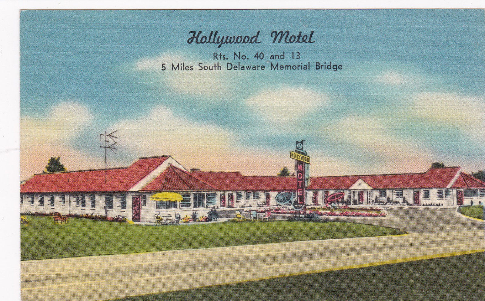 Hollywood Motel New Castle Delaware 30 40s Hollywood Motel Hippostcard