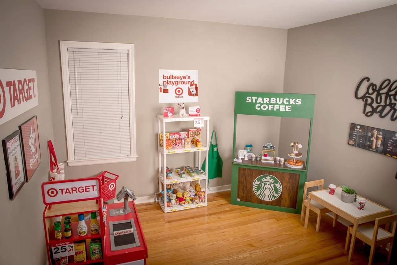Wisconsin Mom Creates Playroom For Her 3 Year Old Daughter That Has A Pretend Target And Starbucks Inside