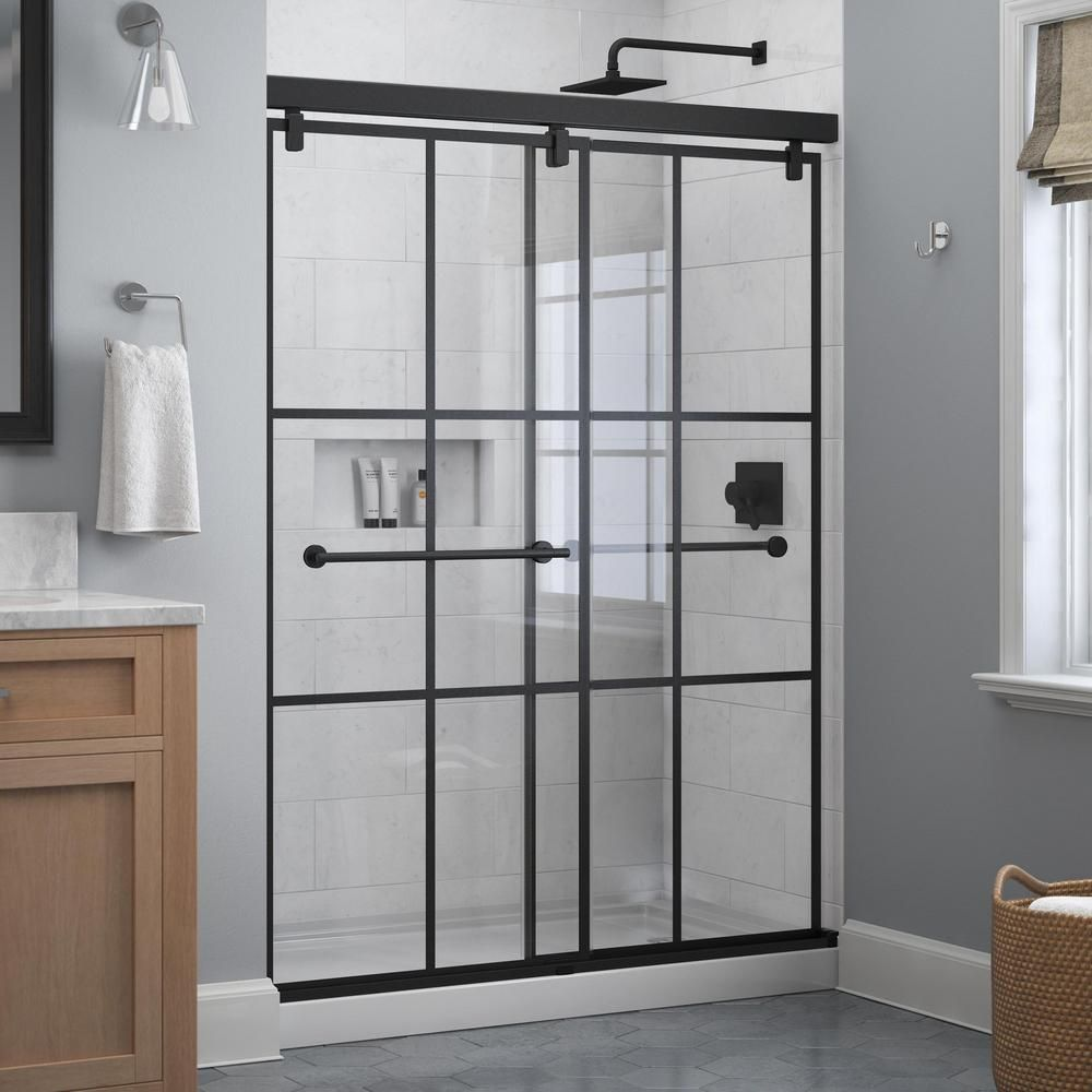 The Home Depot Sells Black Matte Gridded Glass Shower Doors